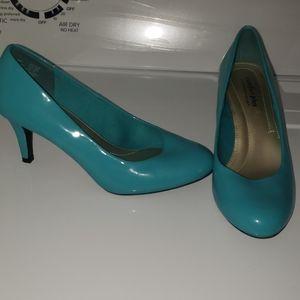 Teal high heels wide width